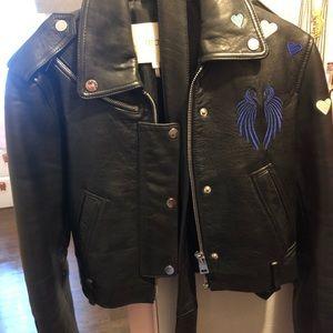 Maje Embroidered Leather Jacket